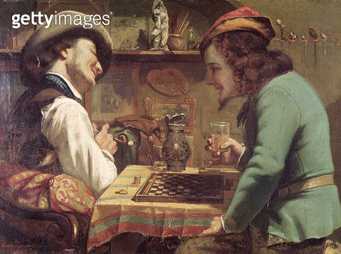 <b>Title</b> : The Game of Draughts, 1844 (oil on canvas)<br><b>Medium</b> : oil on canvas<br><b>Location</b> : Private Collection<br> - gettyimageskorea