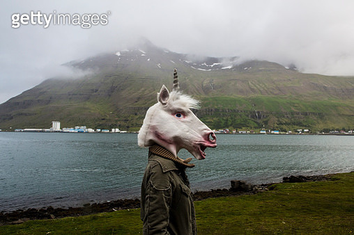 Person in Unicorn Mask in Iceland Landscape - gettyimageskorea