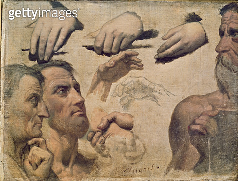 <b>Title</b> : Study of Heads and Hands for the Apotheosis of Homer (oil on canvas)<br><b>Medium</b> : oil on canvas<br><b>Location</b> : Musee Fabre, Montpellier, France<br> - gettyimageskorea