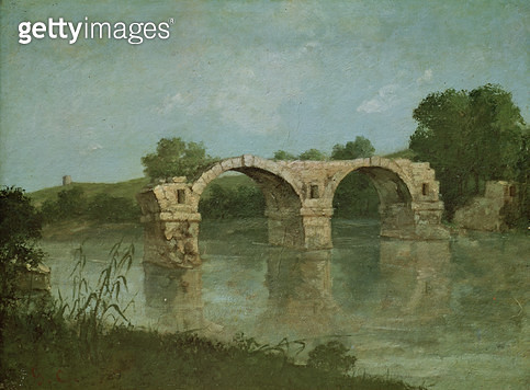 <b>Title</b> : The Bridge at Ambrussum (oil on canvas)<br><b>Medium</b> : oil on canvas<br><b>Location</b> : Musee Fabre, Montpellier, France<br> - gettyimageskorea