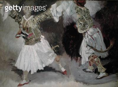 <b>Title</b> : Two Greek Soldiers Dancing (Study of Soliote Dress) (oil on canvas)Additional Inforesidents of Souli of Epirus;<br><b>Medium</b> : oil on canvas<br><b>Location</b> : Louvre, Paris, France<br> - gettyimageskorea
