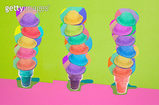 Ice Cream Cones with Many Flavors - gettyimageskorea