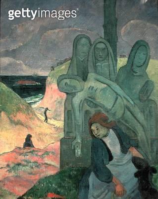 <b>Title</b> : The Green Christ (Breton Calvary) 1889 (oil on canvas)<br><b>Medium</b> : oil on canvas<br><b>Location</b> : Musees Royaux des Beaux-Arts de Belgique, Brussels, Belgium<br> - gettyimageskorea