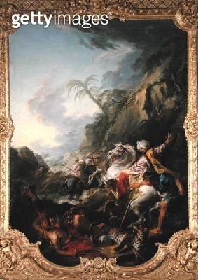 <b>Title</b> : Leopard Hunt, 1736 (oil on canvas)<br><b>Medium</b> : oil on canvas<br><b>Location</b> : Musee de Picardie, Amiens, France<br> - gettyimageskorea