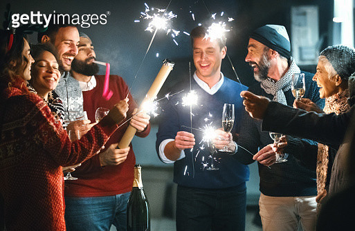 New Year's party on a balcony. - gettyimageskorea