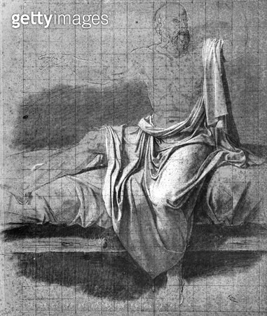 <b>Title</b> : Study for the Death of Socrates (pen & ink on paper) (b/w photo)<br><b>Medium</b> : pen and ink on paper<br><b>Location</b> : Musee Bonnat, Bayonne, France<br> - gettyimageskorea