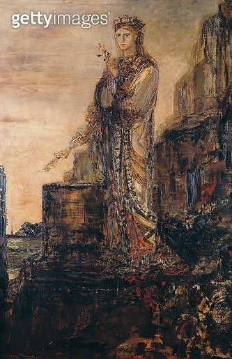 <b>Title</b> : Helen on the Ramparts of Troy (oil on canvas)<br><b>Medium</b> : oil on canvas<br><b>Location</b> : Musee Gustave Moreau, Paris, France<br> - gettyimageskorea