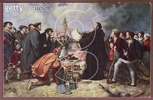 <b>Title</b> : Martin Luther (1483-1546) Burning the Papal Bull (colour litho)<br><b>Medium</b> : <br><b>Location</b> : Private Collection<br> - gettyimageskorea