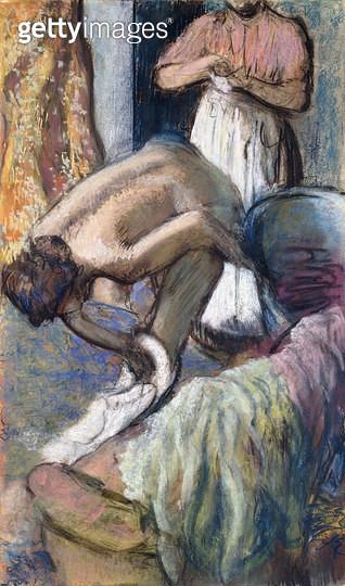 Breakfast after the Bath (Young Woman Drying Herself). / Le Petit Dejeuner apres le Bain (Jeune Femme s'essuyant). Ca. 1894 - gettyimageskorea