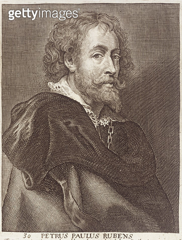 <b>Title</b> : Portrait of Peter Paul Rubens (1577-1640) plate 30 from a series of portraits of artists, engraved by Joannes Meyssens (1612-70)<br><b>Medium</b> : <br><b>Location</b> : Private Collection<br> - gettyimageskorea