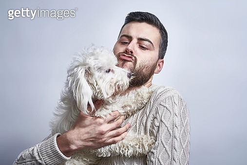 Bearded British male with his dog - gettyimageskorea