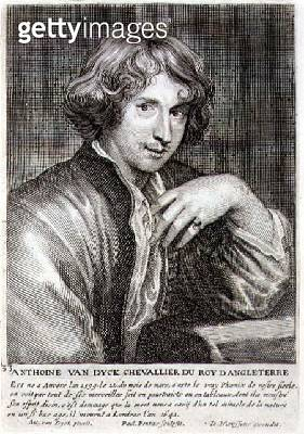 <b>Title</b> : Self Portrait, plate 33 from a series of portraits of artists, engraved by Paulus Pontius (1603-58)<br><b>Medium</b> : engraving<br><b>Location</b> : Private Collection<br> - gettyimageskorea