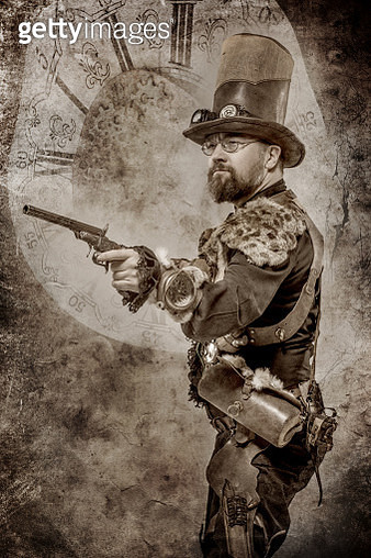 Steampunk male military character in a studio shot - gettyimageskorea