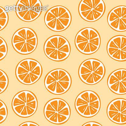 Seamless orange slice pattern illustration - gettyimageskorea