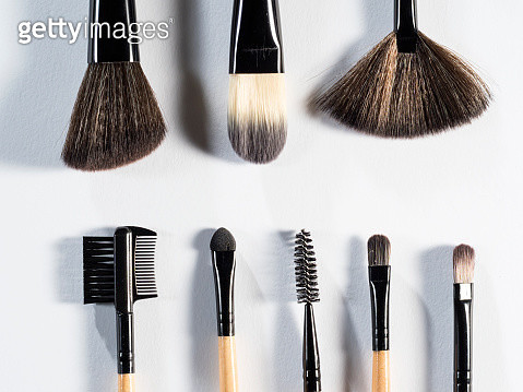 Make-up Brushes on a white background. - gettyimageskorea