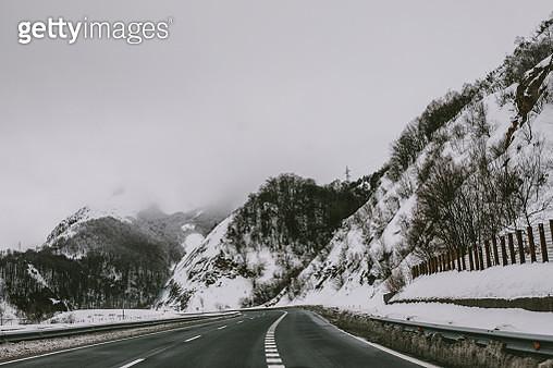 road covered in snow in winter in Spain - gettyimageskorea