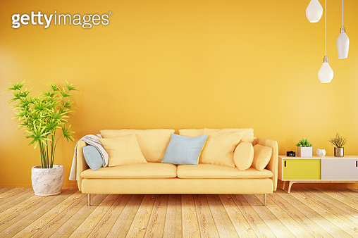 Yellow Living Room with Sofa - gettyimageskorea