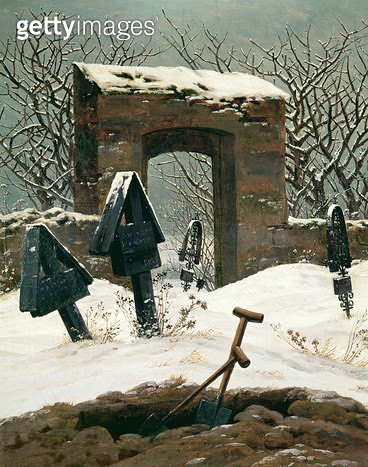 <b>Title</b> : Cemetery in the Snow, 1826 (oil on canvas)<br><b>Medium</b> : oil on canvas<br><b>Location</b> : Museum der Bildenden Kunste, Leipzig, Germany<br> - gettyimageskorea