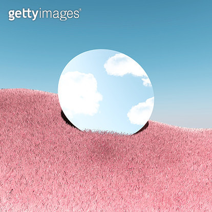 Poetic picture of mirror reflecting blue sky in digital surreal landscape with pink grass. - gettyimageskorea