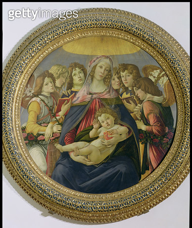 <b>Title</b> : Virgin and Child with Six Angels, called The Madonna of the Pomegranate, c.1478-79 (tempera on panel) (see 148859 for detail)Add<br><b>Medium</b> : tempera on panel<br><b>Location</b> : Galleria degli Uffizi, Florence, Italy<br> - gettyimageskorea
