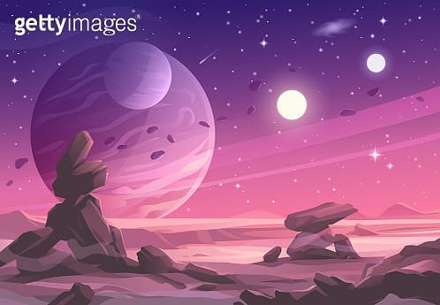 Alien Planet Landscape Under A Purple Sky - gettyimageskorea