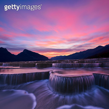 Stepped Waterfall Group at Sunrise - gettyimageskorea