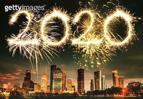 fireworks in houston skyline - texas - gettyimageskorea