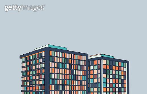modern office building 3D structure illustration - gettyimageskorea