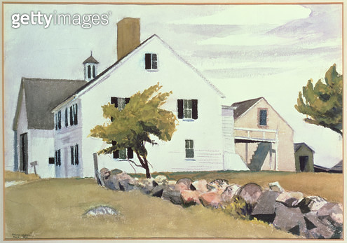 <b>Title</b> : Farm House at Essex, Massachusetts, 1929 (w/c on paper)<br><b>Medium</b> : watercolour on paper<br><b>Location</b> : Private Collection<br> - gettyimageskorea