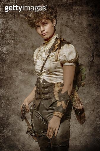 Steampunk female in a studio shot - gettyimageskorea