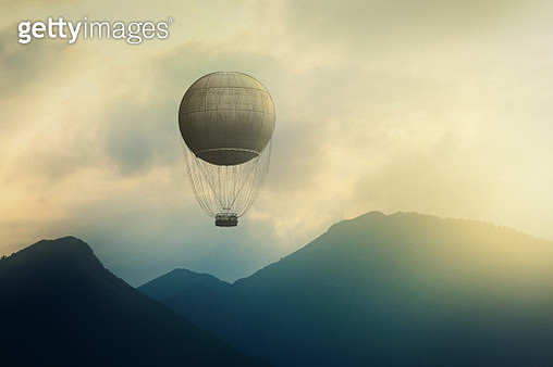 Air balloon over beautiful mountain landscapes - gettyimageskorea