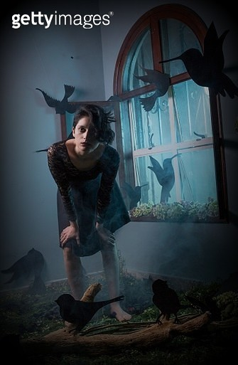 Portrait Of Young Woman With Spooky Make-Up Standing At Home During Halloween - gettyimageskorea