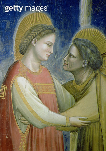 <b>Title</b> : The Visitation, detail of the Virgin embracing St. Elizabeth, c.1305 (fresco) (detail of 102753)<br><b>Medium</b> : <br><b>Location</b> : Scrovegni (Arena) Chapel, Padua, Italy<br> - gettyimageskorea