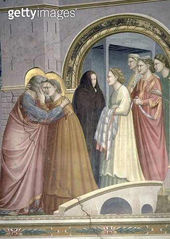 <b>Title</b> : The Meeting at the Golden Gate, detail of Joachim and St. Anne embracing, c.1305 (fresco) (detail of 65216)<br><b>Medium</b> : <br><b>Location</b> : Scrovegni (Arena) Chapel, Padua, Italy<br> - gettyimageskorea