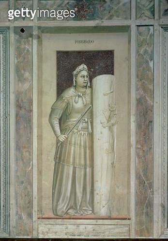 <b>Title</b> : Fortitude, c.1305 (fresco)<br><b>Medium</b> : <br><b>Location</b> : Scrovegni (Arena) Chapel, Padua, Italy<br> - gettyimageskorea