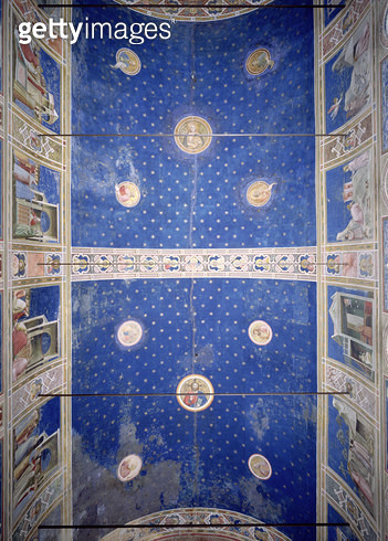 View of the ceiling vault with medallions depicting Christ/ Madonna and Child and the Doctors of the Church/ c.1305 (fresco) - gettyimageskorea