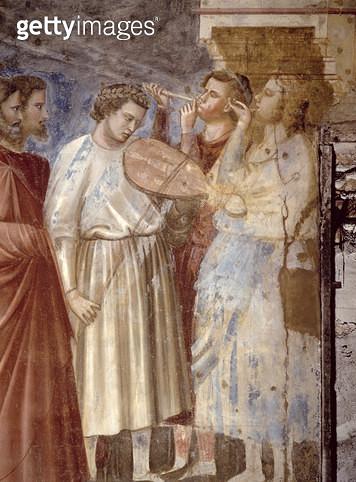 <b>Title</b> : The Virgin's Wedding Procession, detail of the musicians, c,1305 (fresco) (detail of 65205)<br><b>Medium</b> : <br><b>Location</b> : Scrovegni (Arena) Chapel, Padua, Italy<br> - gettyimageskorea