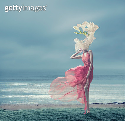 the girl in a red dress with the melting head - gettyimageskorea