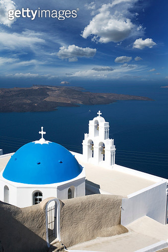 Blue dome of a greek white church - gettyimageskorea