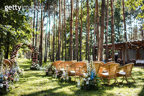 Wedding ceremony decorations in the green forest - gettyimageskorea