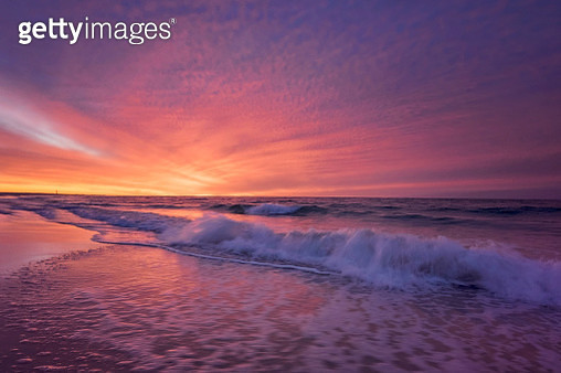 Magenta Winter Snunrise Wave at Jones Beach, Long Island - gettyimageskorea