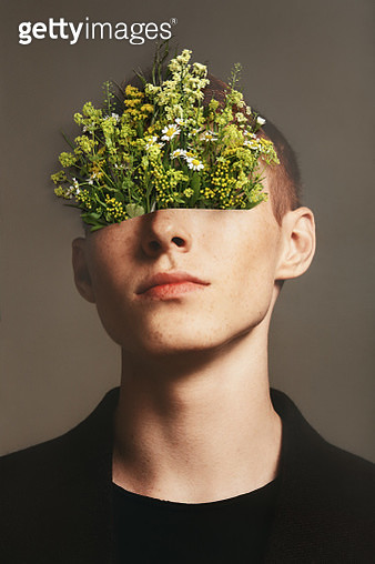 Analog collage with young man and floral eyewear - gettyimageskorea