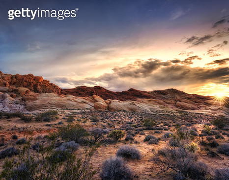 Sunset at Valley of Fire State Park, Nevada, USA - gettyimageskorea