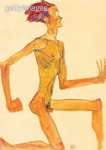 Kneeling Naked Man, in Profile to the Right, Self-Portrait (Kniender Nackter Mann, im Profil nach rechts, Selbstbildnis). 1910 - gettyimageskorea