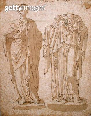 <b>Title</b> : Two Statues of Women with Draped Clothing (pen & ink wash on paper)Additional InfoDeux Statues de Femmes Drapees;<br><b>Medium</b> : pen and ink wash on paper<br><b>Location</b> : Musee Conde, Chantilly, France<br> - gettyimageskorea