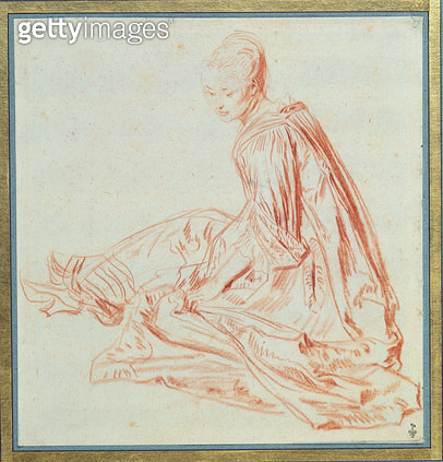 <b>Title</b> : Seated Woman (red chalk on paper)<br><b>Medium</b> : red chalk on paper<br><b>Location</b> : Musee Conde, Chantilly, France<br> - gettyimageskorea