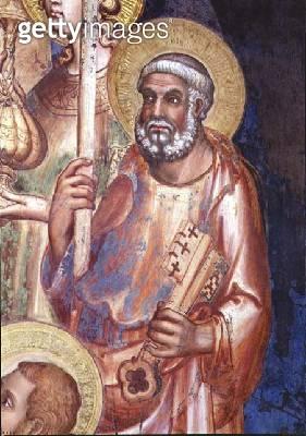 <b>Title</b> : Maesta, detail of St. Peter, 1315 (fresco)<br><b>Medium</b> : fresco<br><b>Location</b> : Palazzo Pubblico, Siena, Italy<br> - gettyimageskorea