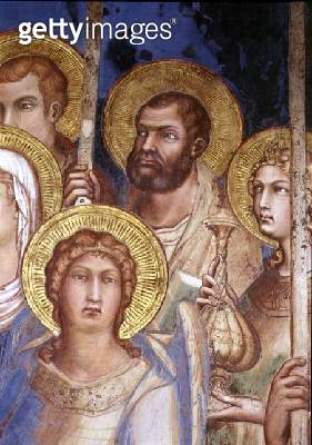 <b>Title</b> : Maesta, detail of the saints, 1315 (fresco)<br><b>Medium</b> : fresco<br><b>Location</b> : Palazzo Pubblico, Siena, Italy<br> - gettyimageskorea
