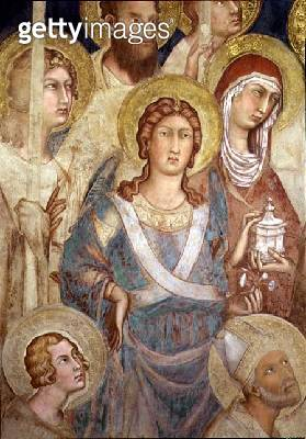 <b>Title</b> : Maesta, detail of St. Michael, 1315 (fresco)<br><b>Medium</b> : fresco<br><b>Location</b> : Palazzo Pubblico, Siena, Italy<br> - gettyimageskorea