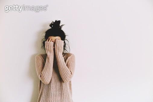 Woman Against Wall - gettyimageskorea